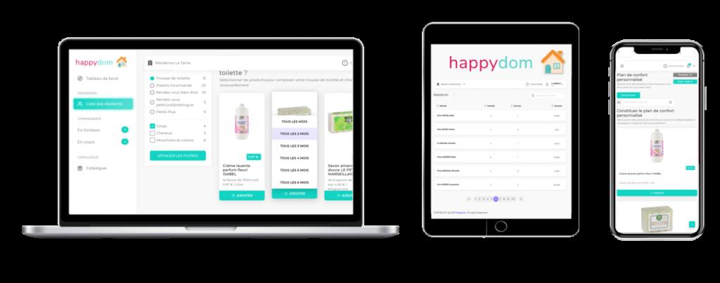 Interface d'happydom la plateforme de coordination pour le bien vieillir en EHPAD, USLD et Résidence autonomie